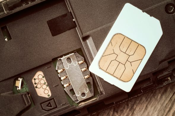 SIM card on the mobile phone